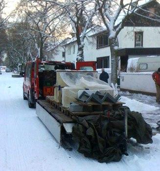 Auslieferung Römerofen im Winter